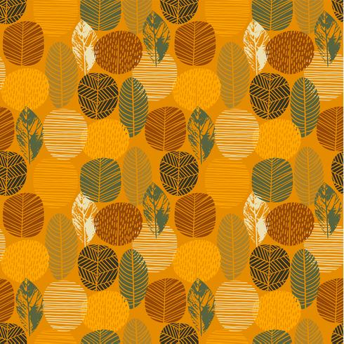 Nahtloses Muster des abstrakten Herbstes mit Bäumen. Vektorhintergrund für verschiedene Oberfläche. vektor