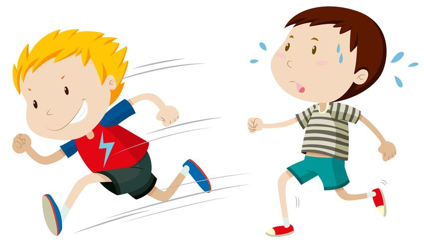 Zwei Jungs rennen schnell und langsam vektor