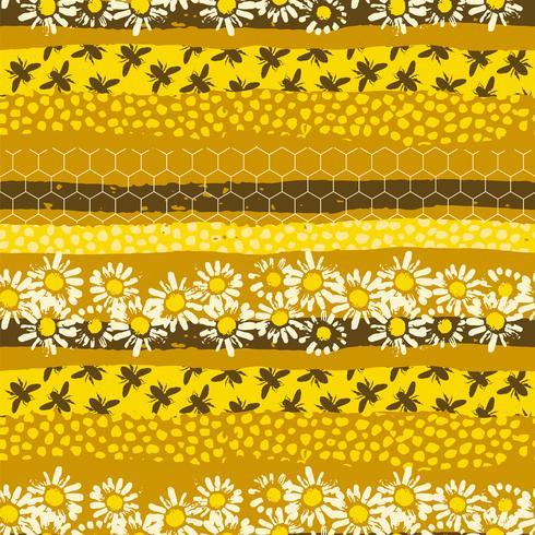 Nahtloses geometrisches Muster mit Biene. Modernes abstraktes Honigdesign. vektor