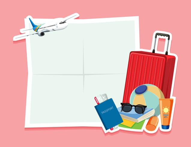 Leere Notiz mit Reiseobjekt vektor