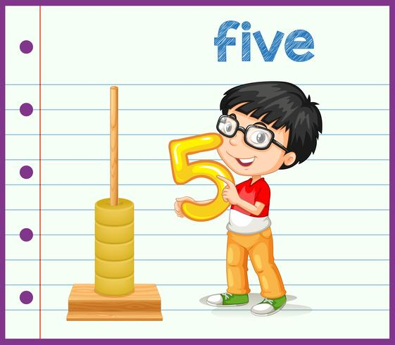 Junge, der Nummer sieben hält vektor