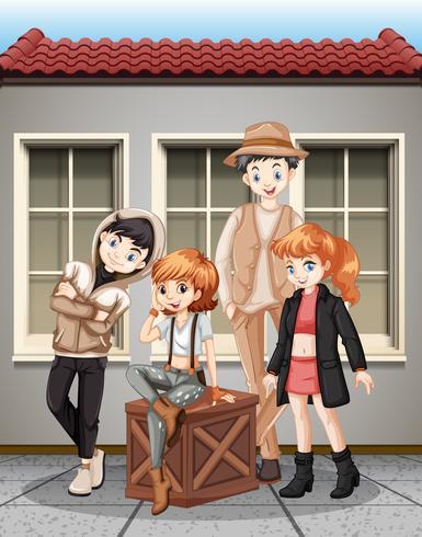 Grupp av fashionalble tonåring vektor