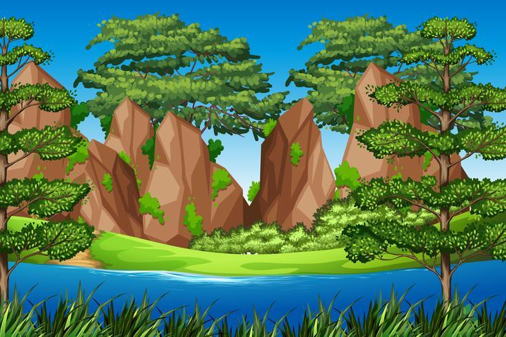 Rock berg i naturlandskap vektor