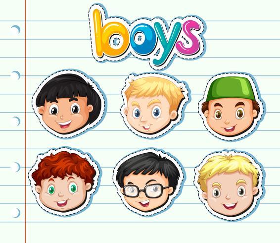 Klistermärke uppsättning pojkar med glatt ansikte vektor