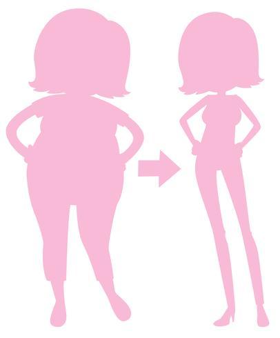 En rosa siluettflicka som förlorar vikt vektor