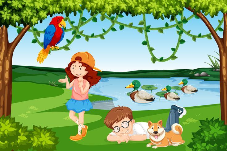 Kinder und Tiere Holzszene vektor