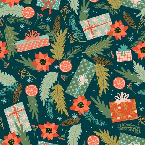 Jul och gott nytt år sömlöst mönster. vektor