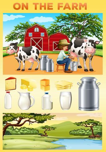 Farm tema med jordbrukare och mejeriprodukter vektor
