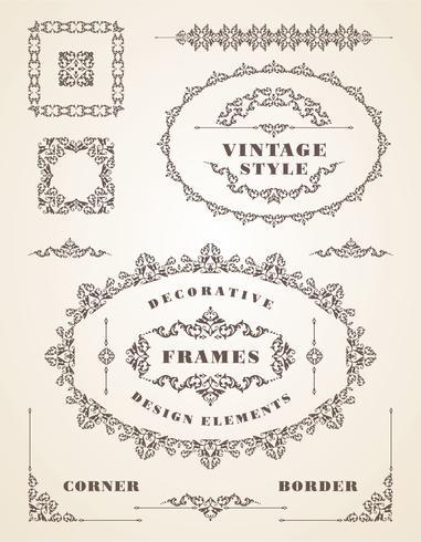 Set Retro Vintage Frames und Grenzen. vektor