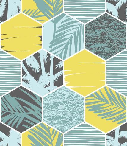 Seamless exotiskt mönster med palmblad på geometrisk bakgrund vektor
