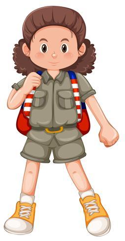 En brunett tjej scout karaktär vektor