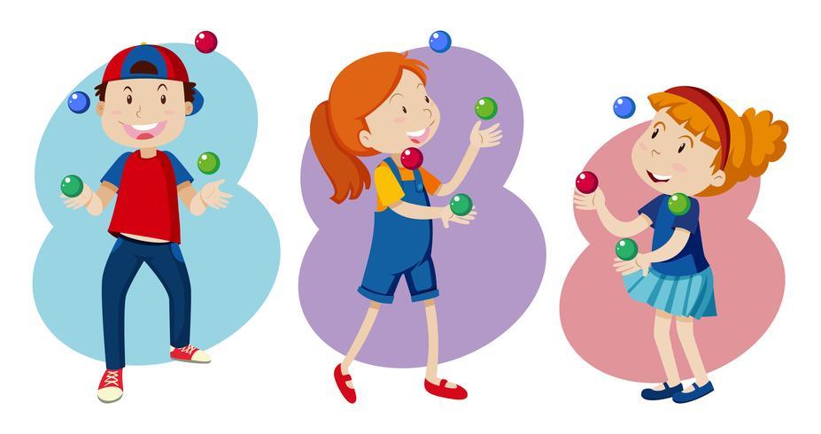 Kid spelar färgstark jonglering vektor