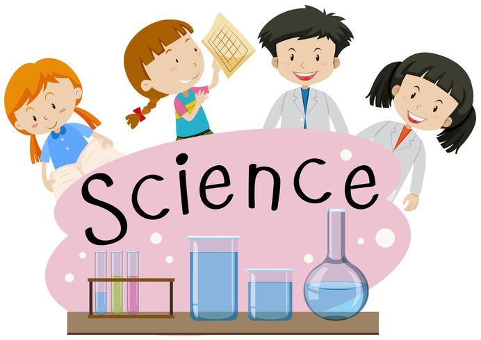 Flashcard för ordvetenskap med barn i lab vektor