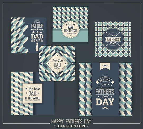 Happy Father s Day mallar i Retro Style. vektor