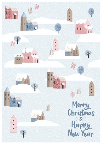 Weihnachten und guten Rutsch ins Neue Jahr nahtlose Illustration Whit-Winterlandschaft. vektor