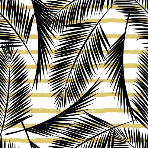Trendiges nahtloses exotisches Muster mit Palme und geometrischen Elementen. vektor