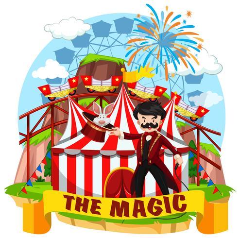 Zirkusszene mit Magier und Fahrgeschäften vektor