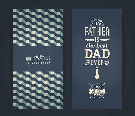 Grattis på faderns dagkort i retrostil. vektor