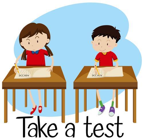 Studenten machen einen Test vektor