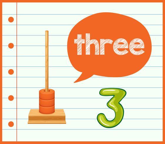 Eine mathematische Lernkarte Nummer drei vektor