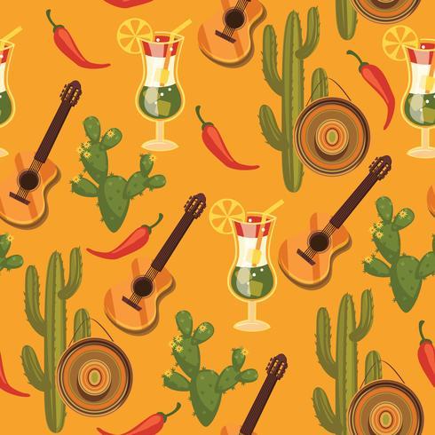 Vektornahtloses Muster mit traditionellen mexikanischen Symbolen. vektor