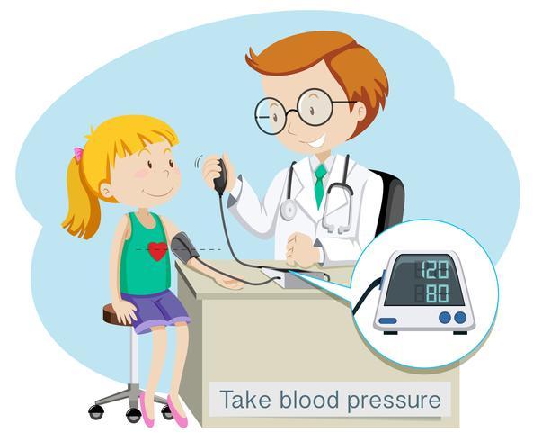 Ein Mädchen nimmt Blutdruck mit Doktor vektor