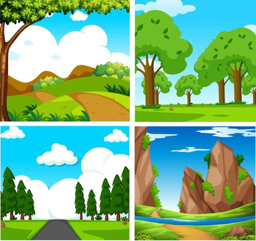 Fyra vackra gröna naturlandskap vektor