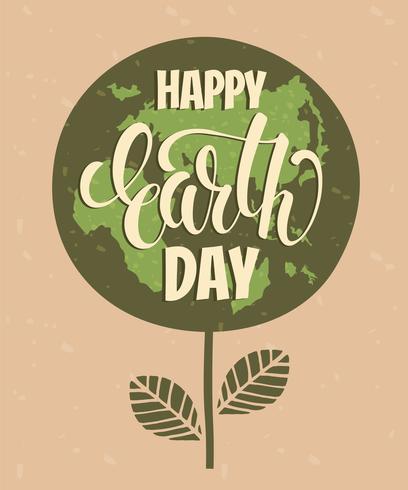 Tag der Erde-Konzept mit Beschriftung des Handabgehobenen betrages. vektor