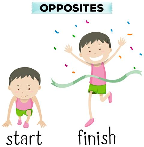Gegenüberliegende Wörter für Start und Ziel vektor