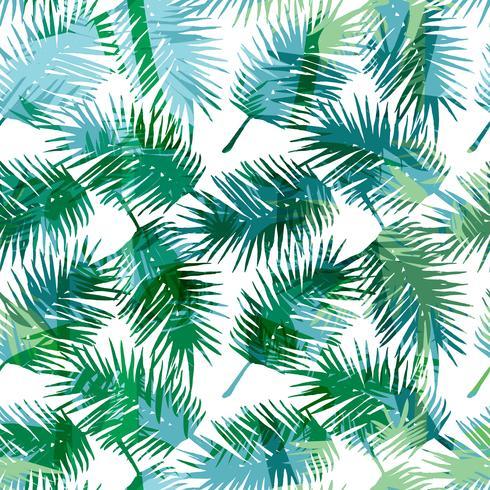 Seamless exotiskt mönster med tropiska palmblad. vektor