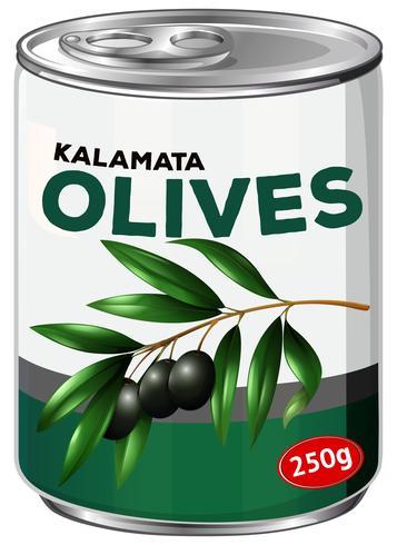 Eine Dose Kalamata-Oliven vektor