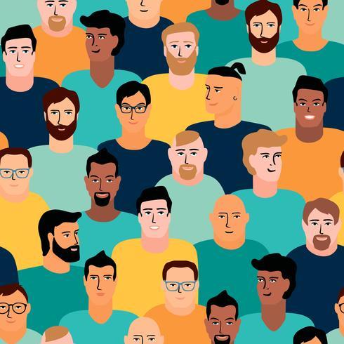 Vektor sömlöst mönster med män ansikten.