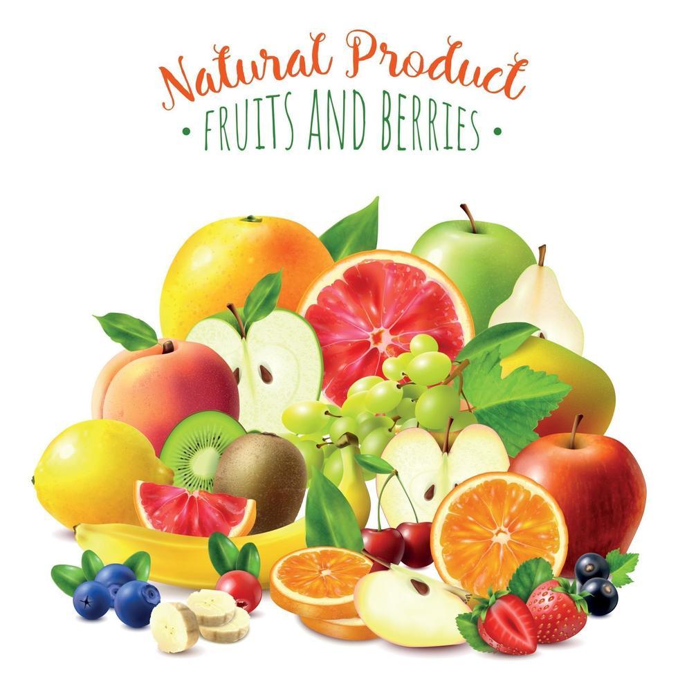 Früchte und Beeren Hintergrund-Vektor-Illustration vektor