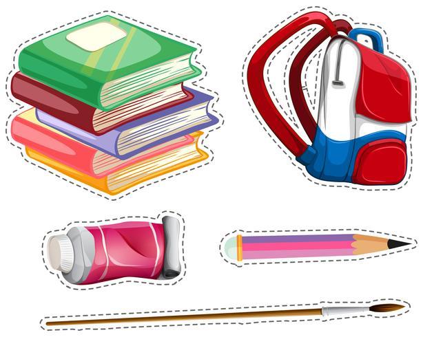 Klistermärke med skolutrustning vektor