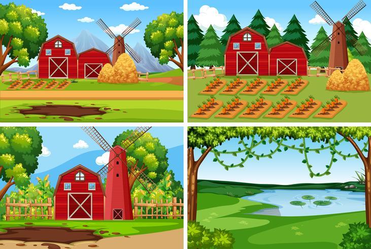 Set av jordbrukslandskap vektor
