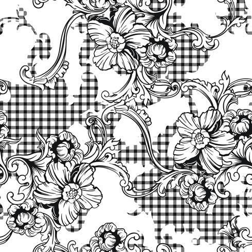 Nahtloses Muster des vielseitigen Gewebeplaids mit barocker Verzierung. vektor