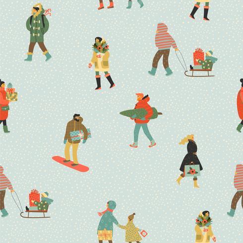 Weihnachten und guten Rutsch ins Neue Jahr nahtlose Muster Whit Leute. Modischer Retro-Stil. vektor