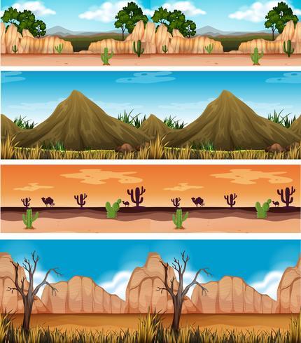 Fyra olika vackra ökenlandskap vektor