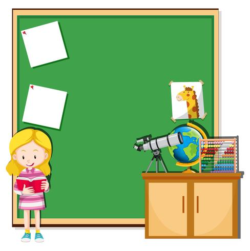 Tjej läser i ett klassrum vektor