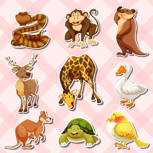 Klistermärke med reptiler och andra djur vektor