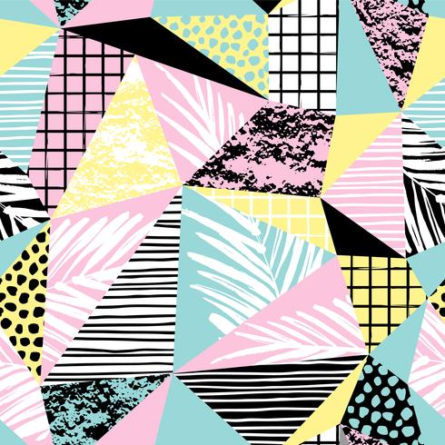 Trendigt sömlöst exotiskt mönster med palm och geometriska element. vektor