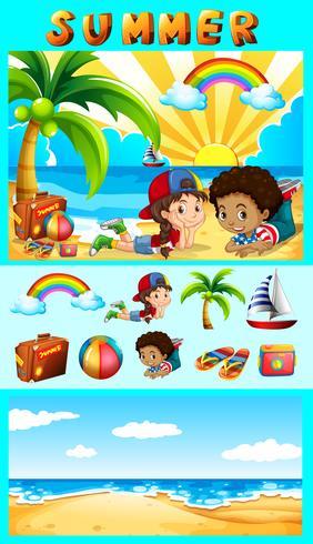 Sommaruppsättning med barn till sjöss vektor