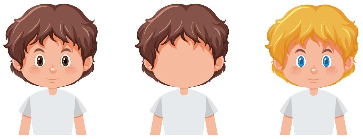 Satz des Jungen mit unterschiedlicher Haarfarbe vektor