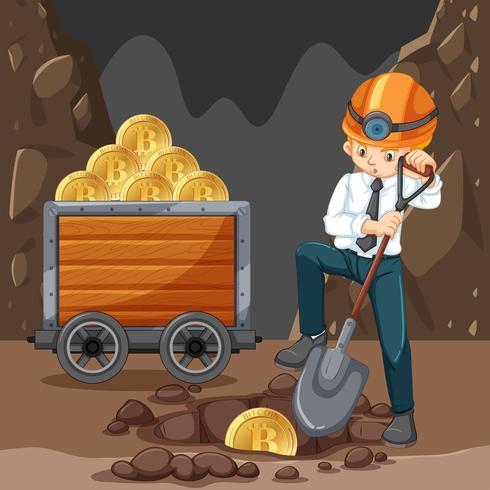 En man som gör Cryptocoin Mining vektor