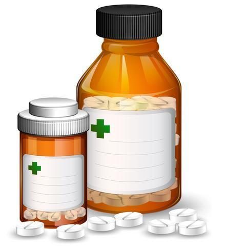 Sats med medicinska behållare och medicene vektor