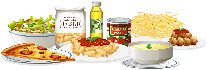 Ein Satz italienische Küche vektor