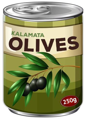 Eine Dose schwarze Olive vektor