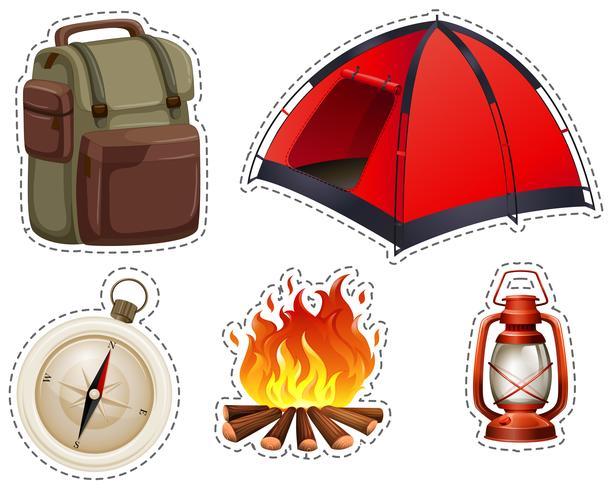 Camping mit Zelt und Lagerfeuer vektor