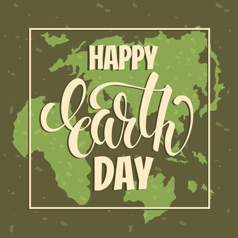 Earth Day koncept med handteckningsbokstäver. vektor
