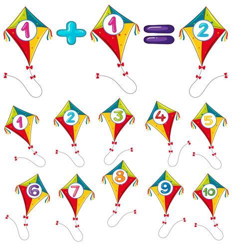 Färgrika drakar och siffror vektor